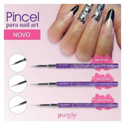 Pincel Micro Nail Art Metal - Purple